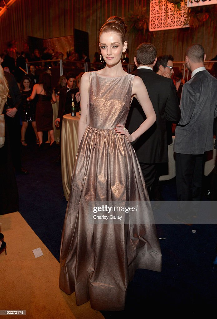 Actress <a gi-track='captionPersonalityLinkClicked' href=/galleries/search?phrase=Lydia+Hearst&family=editorial&specificpeople=221723 ng-click='$event.stopPropagation()'>Lydia Hearst</a> attends The Weinstein Company & Netflix's 2014 Golden Globes After Party presented by Bombardier, FIJI Water, Lexus, Laura Mercier, Marie Claire and Yucaipa Films at The Beverly Hilton Hotel on January 12, 2014 in Beverly Hills, California.