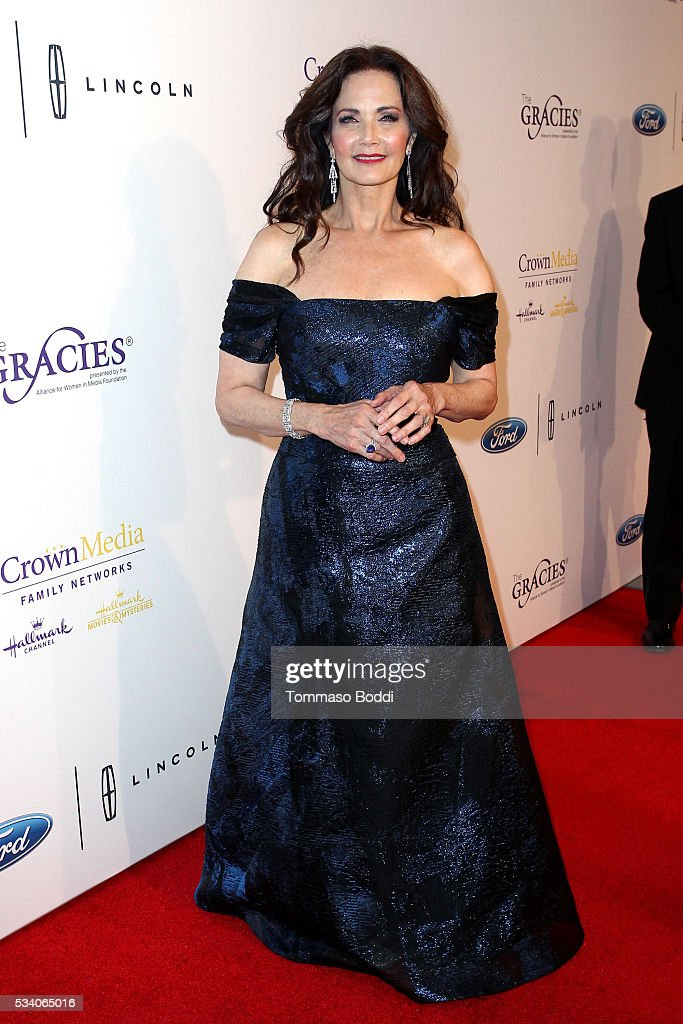 Actress <a gi-track='captionPersonalityLinkClicked' href=/galleries/search?phrase=Lynda+Carter&family=editorial&specificpeople=215112 ng-click='$event.stopPropagation()'>Lynda Carter</a> attends the 41st Annual Gracie Awards at Regent Beverly Wilshire Hotel on May 24, 2016 in Beverly Hills, California.