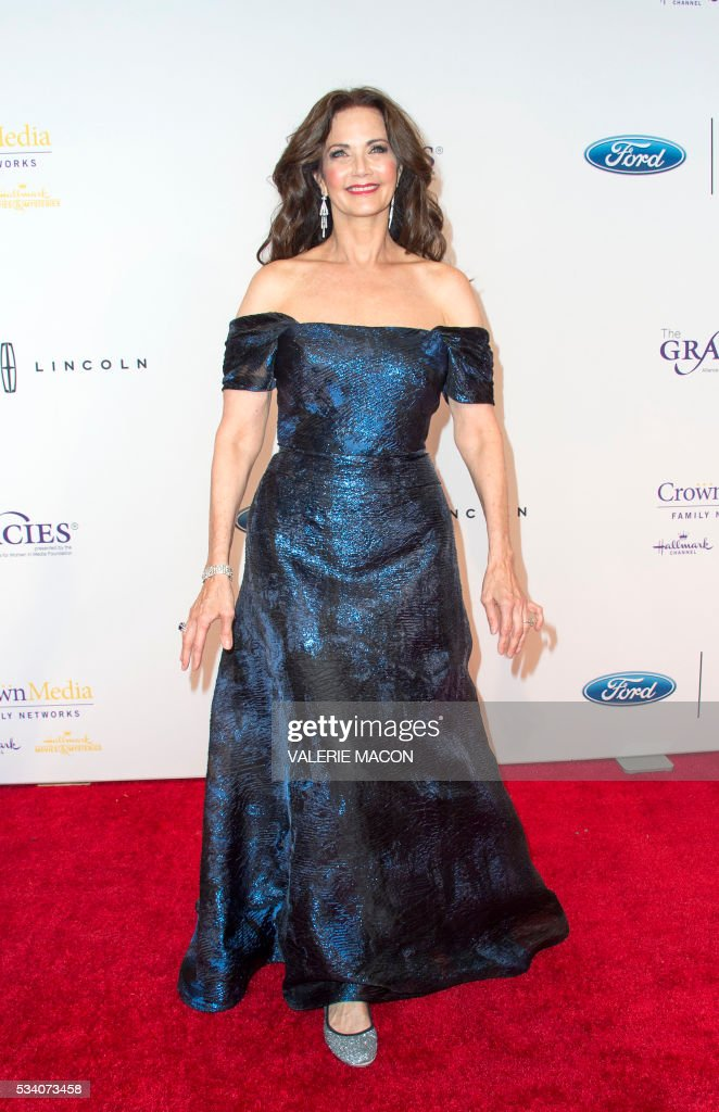Actress Lynda Carter attends the 41st Annual Gracies Awards Gala in Beverly Hills, California, on May 24, 2016. / AFP / VALERIE