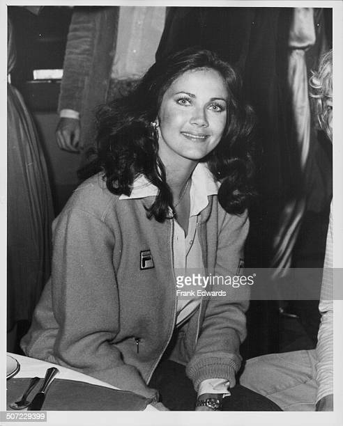 Actress Lynda Carter television's 'Wonder Woman' at the opening gala for the Alan King Tennis Tournament at Caesar's Palace Las Vegas April 1980