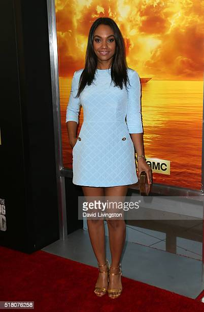 Actress Lyndie Greenwood attends the premiere of AMC's 'Fear the Walking Dead' Season 2 at Cinemark Playa Vista on March 29 2016 in Los Angeles...
