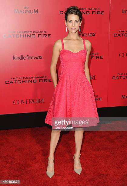Actress Lyndsy Fonseca arrives at the Los Angeles Premiere 'The Hunger Games Catching Fire' at Nokia Theatre LA Live on November 18 2013 in Los...
