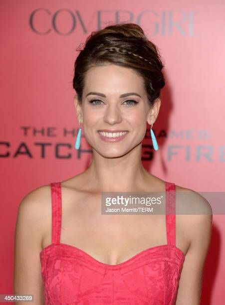Actress Lyndsy Fonseca arrives at the premiere of Lionsgate's 'The Hunger Games Catching Fire' at Nokia Theatre LA Live on November 18 2013 in Los...