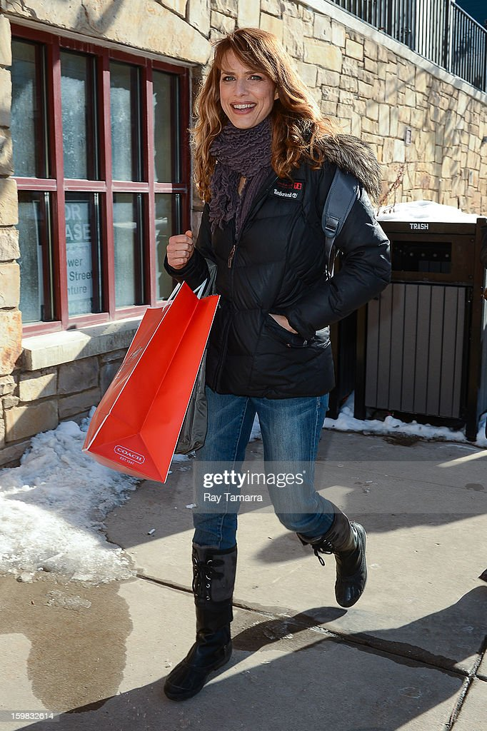 Actress Lynn Shelton walks in Park City on January 20, 2013 in Park City, Utah.