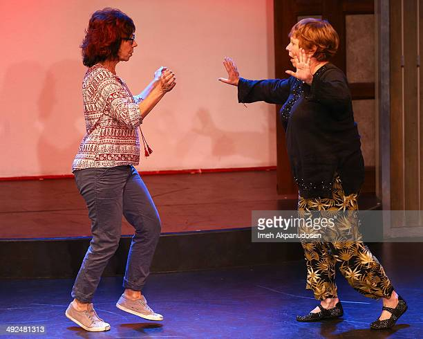 Actress Lynne Marie Stewart and Mindy Sterling perform onstage at the The Groundlings Theatre's celebration of their 40th Anniversary with '80's...