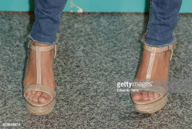 Actress Macarena Garcia shoes detail attends James Rhodes concert at the Royal Theatre on July 27 2017 in Madrid Spain