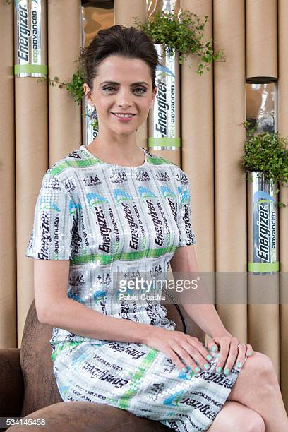 Actress Macarena Gomez presents the new Eco Advance recycled batteries by Energizer at 'The Hat' hotel on May 25 2016 in Madrid Spain