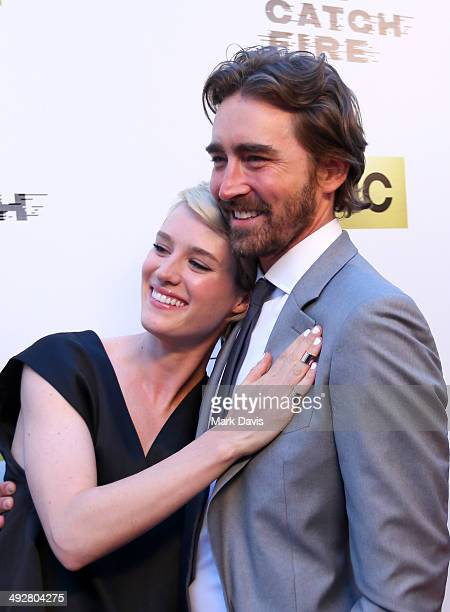 Actress Mackenzie Davis and actor Lee Pace attend AMC's new series 'Halt And Catch Fire' Los Angeles Premiere at ArcLight Cinemas on May 21 2014 in...