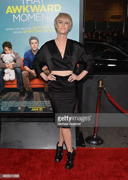 Actress Mackenzie Davis arrives at the premiere of Focus Features' 'That Awkward Moment' at Regal Cinemas LA Live on January 27 2014 in Los Angeles...