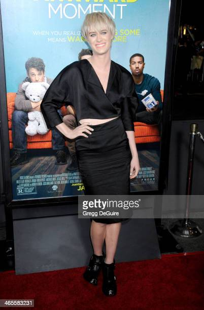 Actress Mackenzie Davis arrives to the Los Angeles premiere of 'That Awkward Moment' at Regal Cinemas LA Live on January 27 2014 in Los Angeles...