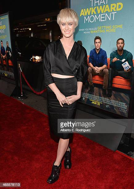 Actress Mackenzie Davis arrives to the premiere of Focus Features' 'That Awkward Moment' at Regal Cinemas LA Live on January 27 2014 in Los Angeles...