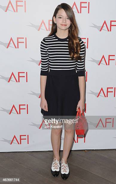 Actress Mackenzie Foy arrives at the 15th Annual AFI Awards at Four Seasons Hotel Los Angeles at Beverly Hills on January 9 2015 in Beverly Hills...