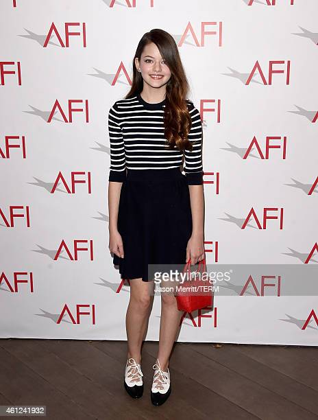 Actress Mackenzie Foy attends the 15th Annual AFI Awards at Four Seasons Hotel Los Angeles at Beverly Hills on January 9 2015 in Beverly Hills...