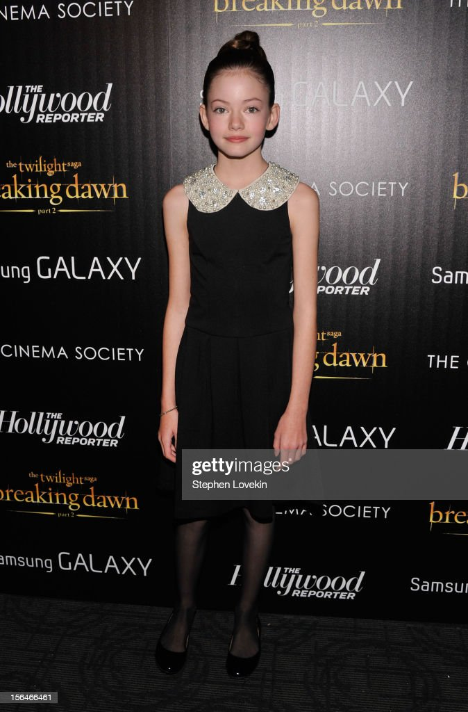 Actress Mackenzie Foy attends The Cinema Society with The Hollywood Reporter & Samsung Galaxy screening of 'The Twilight Saga: Breaking Dawn Part 2' on November 15, 2012 in New York City.