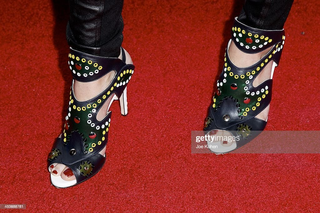 Actress Madchen Amick (shoe detail)attends the Opening Night Party For Divine Design 2013 on December 5, 2013 in Beverly Hills, California.