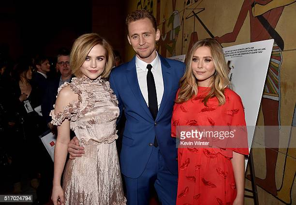 Actress Maddie Hasson Actor Tom Hiddleston and Actress Elizabeth Olsen attend the premiere of Sony Pictures Classics' 'I Saw The Light' at the...