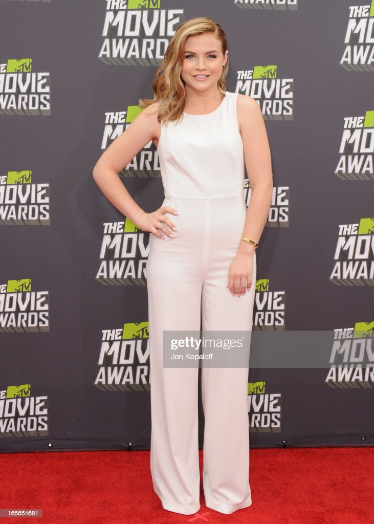 Actress Maddie Hasson arrives at the 2013 MTV Movie Awards at Sony Pictures Studios on April 14, 2013 in Culver City, California.