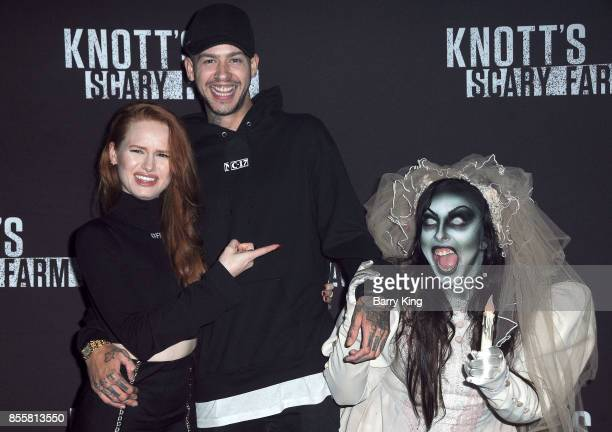 Actress Madelaine Petsch and musician Travis Mills attend Knott's Scary Farm and Instagram Celebrity Night at Knott's Berry Farm on September 29 2017...