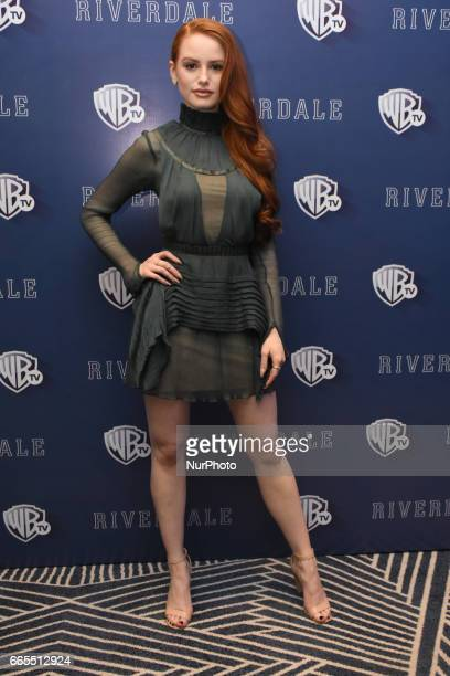 Actress Madelaine Petsch poses during a photocall to promote Riverdale Tv Series at Four Season Hotel on April 06 2017 in Mexico City Mexico