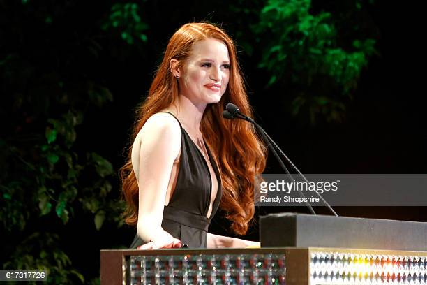 Actress Madelaine Petsch speaks onstage during the Environmental Media Association 26th Annual EMA Awards Presented By Toyota Lexus And Calvert at...