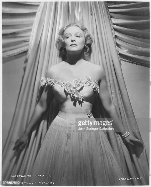 Actress Madeleine Carroll in a strapless evening gown