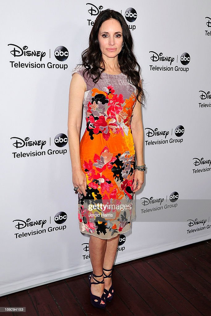 Actress <a gi-track='captionPersonalityLinkClicked' href=/galleries/search?phrase=Madeleine+Stowe&family=editorial&specificpeople=1018262 ng-click='$event.stopPropagation()'>Madeleine Stowe</a> arrives at Disney ABC Television's red carpet gala at the Langham Huntington Hotel and Spa on January 10, 2013 in Pasadena, California.
