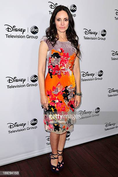 Actress Madeleine Stowe arrives at Disney ABC Television's red carpet gala at the Langham Huntington Hotel and Spa on January 10 2013 in Pasadena...