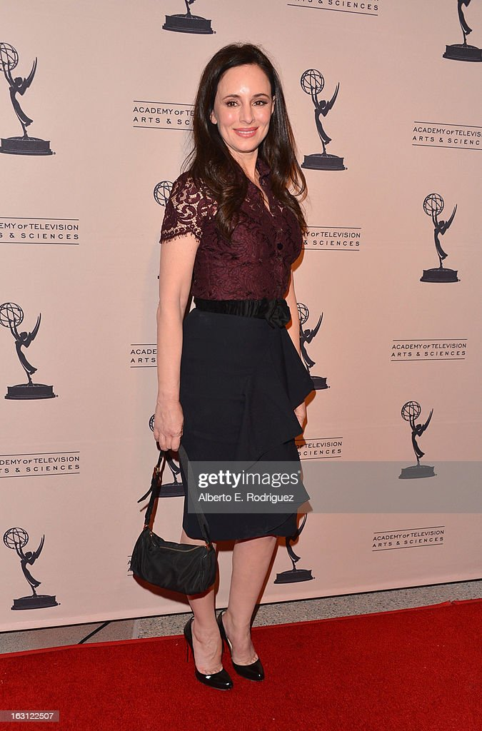 Actress Madeleine Stowe arrives to the Academy of Television Arts and Sciences' An Evening with 'Revenge' at Leonard H. Goldenson Theatre on March 4, 2013 in North Hollywood, California.