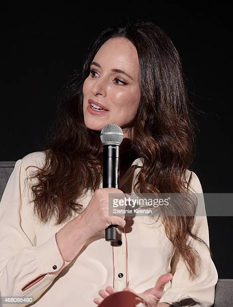 Actress Madeleine Stowe speaks onstage during the screening of 'The Philadelphia Story' during day four of the 2015 TCM Classic Film Festival on...