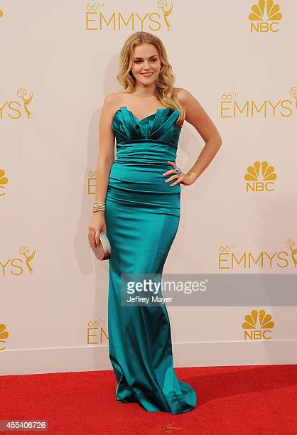 Actress Madeline Brewer arrives at the 66th Annual Primetime Emmy Awards at Nokia Theatre LA Live on August 25 2014 in Los Angeles California