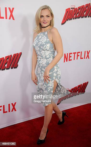 Actress Madeline Brewer arrives at the premiere Of Netflix's 'Marvel's Daredevil' at Regal Cinemas LA Live on April 2 2015 in Los Angeles California