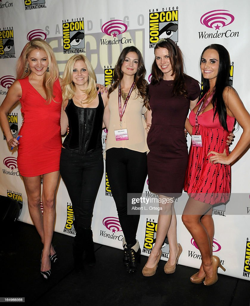 Actress Madison Dylan; Nikki Griffin; Tiffany Brouwer; Catherine Annette and Kristen DeLuca promote Cinemax's 'Femme Fatales' at WonderCon Anaheim 2013 - Day 1 at Anaheim Convention Center on March 29, 2013 in Anaheim, California.