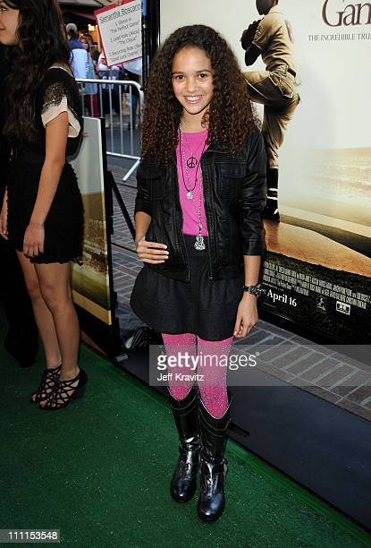 Actress Madison Pettis arrives to the Los Angeles premiere of 'The Perfect Game' in the Pacific Theaters at the Grove on April 5 2010 in Los Angeles...