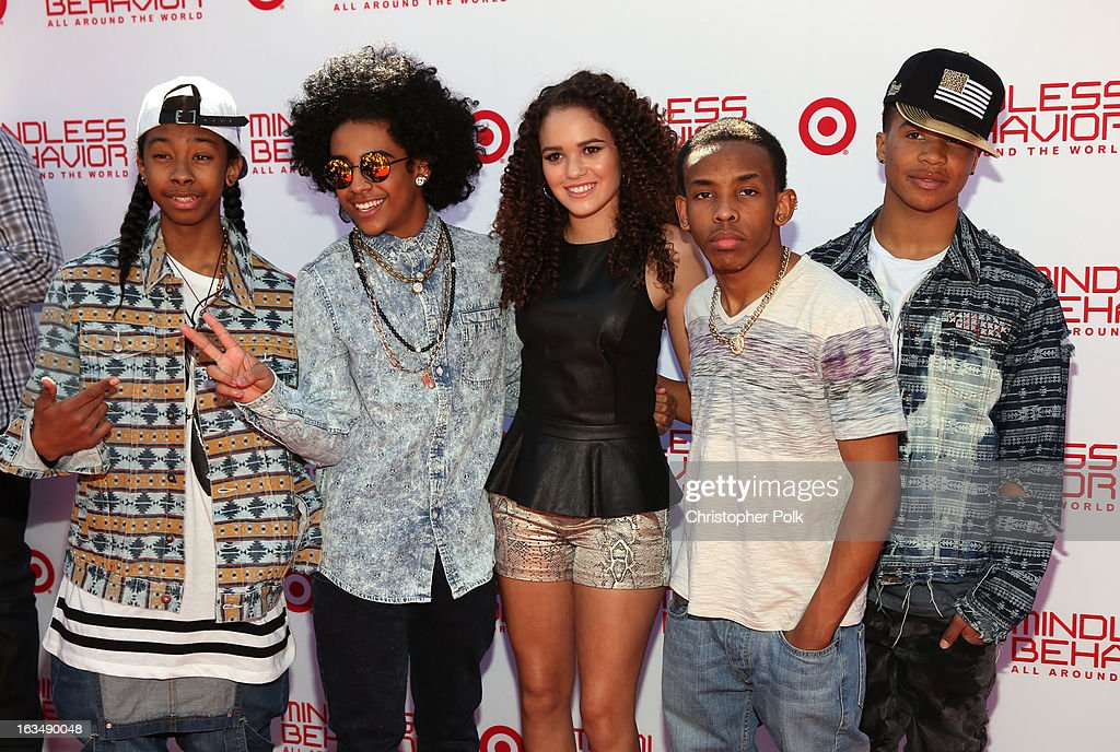 "Actress <a gi-track='captionPersonalityLinkClicked' href=/galleries/search?phrase=Madison+Pettis&family=editorial&specificpeople=4102126 ng-click='$event.stopPropagation()'>Madison Pettis</a> (C) with singers RayRay, Princeton, Prodigy and <a gi-track='captionPersonalityLinkClicked' href=/galleries/search?phrase=Roc+Royal&family=editorial&specificpeople=7301334 ng-click='$event.stopPropagation()'>Roc Royal</a> of Mindless Behavior at Universal CityWalk for the premiere of ""All Around The World"" & a performance presented by Target at Universal CityWalk on March 10, 2013 in Universal City, California."