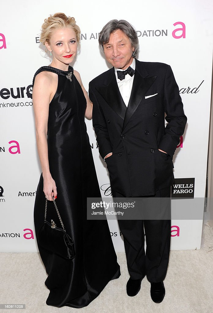 Actress Madison Walls and fashion designer Leon Max attend the 21st Annual Elton John AIDS Foundation Academy Awards Viewing Party at West Hollywood Park on February 24, 2013 in West Hollywood, California.