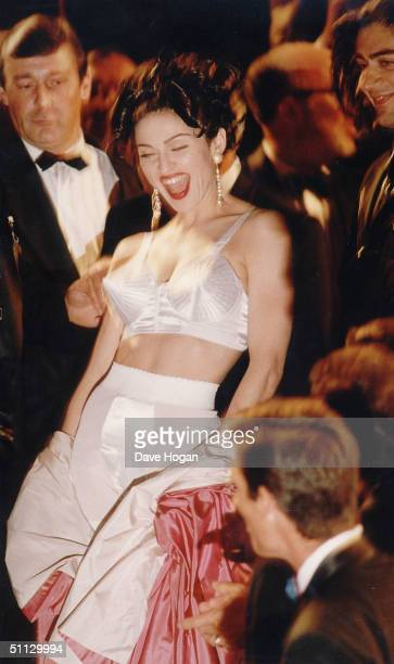 Actress Madonna arrives for the premiere of her film 'In Bed with Madonna' in 1991 at the Cannes Film Festival France