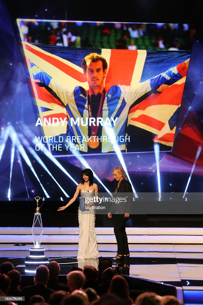 Actress Maggie Cheung with Laureus Academy Member Martina Navratilova announce Andy Murray as the winner of 'Laureus World Breakthrough of the Year' during the awards show for the 2013 Laureus World Sports Awards at the Theatro Municipal Do Rio de Janeiro on March 11, 2013 in Rio de Janeiro, Brazil.