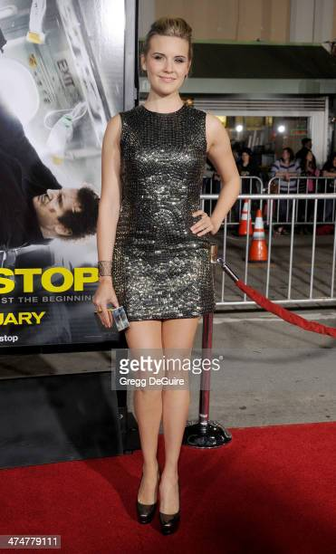 Actress Maggie Grace arrives at the Los Angeles premiere of 'NonStop' at Regency Village Theatre on February 24 2014 in Westwood California