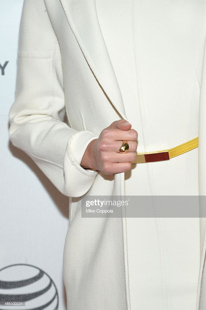 Actress Maggie Grace (fashion detail) attends the 'About Alex' Premiere during the 2014 Tribeca Film Festival at BMCC Tribeca PAC on April 17, 2014 in New York City.