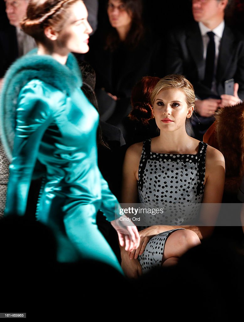 Actress <a gi-track='captionPersonalityLinkClicked' href=/galleries/search?phrase=Maggie+Grace&family=editorial&specificpeople=213706 ng-click='$event.stopPropagation()'>Maggie Grace</a> attends the Carolina Herrera Fall 2013 fashion show during Mercedes-Benz Fashion Week at The Theatre at Lincoln Center on February 11, 2013 in New York City.