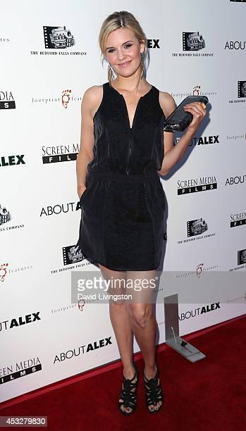 Actress Maggie Grace attends the premiere of 'About Alex' at ArcLight Hollywood on August 6 2014 in Hollywood California
