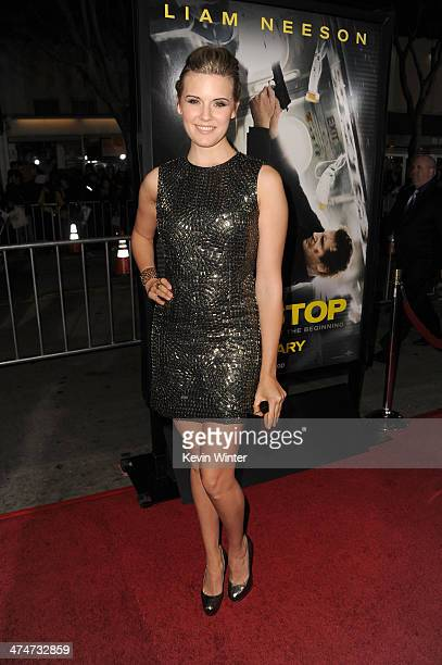 Actress Maggie Grace attends the premiere of Universal Pictures and Studiocanal's 'NonStop' at Regency Village Theatre on February 24 2014 in...