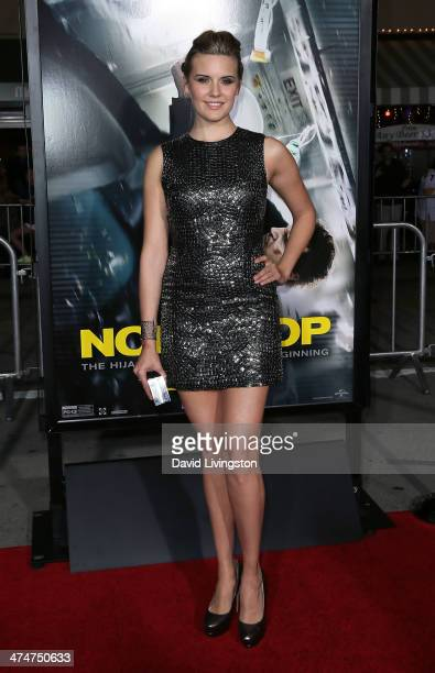 Actress Maggie Grace attends the premiere of Universal Pictures and Studiocanal's 'NonStop' at the Regency Village Theatre on February 24 2014 in...