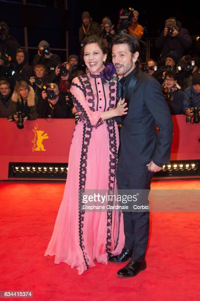 Actress Maggie Gyllenhaal and actor Diego Luna attend the 'Django' premiere during the 67th Berlinale International Film Festival Berlin at Berlinale...