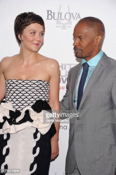 Actress Maggie Gyllenhaal and actor Jamie Foxx attend 'White House Down' New York Premiere at Ziegfeld Theater on June 25 2013 in New York City