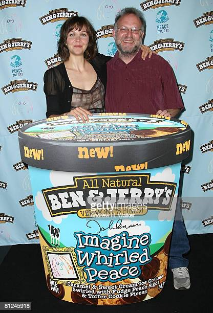 Actress Maggie Gyllenhaal and Ben Jerry cofounder Jerry Greenfield host 'Peace BedIn' on May 27 2008 in New York City