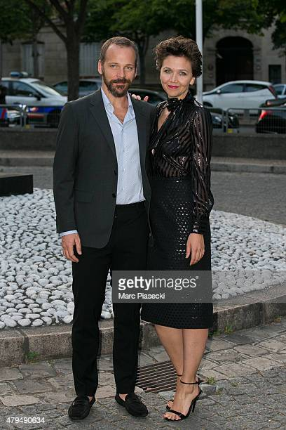Actress Maggie Gyllenhaal and husband Peter Sarsgaard attend the Miu Miu Club launch of the first Miu Miu fragrance and croisiere 2016 collection at...