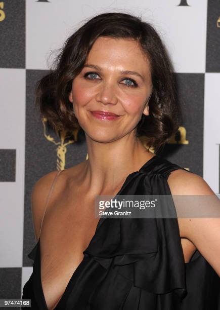 Actress Maggie Gyllenhaal arrives at the 25th Film Independent Spirit Awards held at Nokia Theatre LA Live on March 5 2010 in Los Angeles California