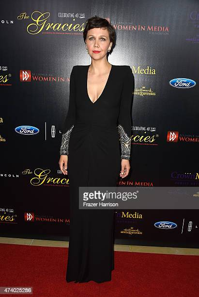 Actress Maggie Gyllenhaal arrives at the 40th Anniversary Gracies Awards at The Beverly Hilton Hotel on May 19 2015 in Beverly Hills California