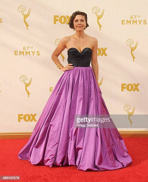 Actress Maggie Gyllenhaal arrives at the 67th Annual Primetime Emmy Awards at Microsoft Theater on September 20 2015 in Los Angeles California